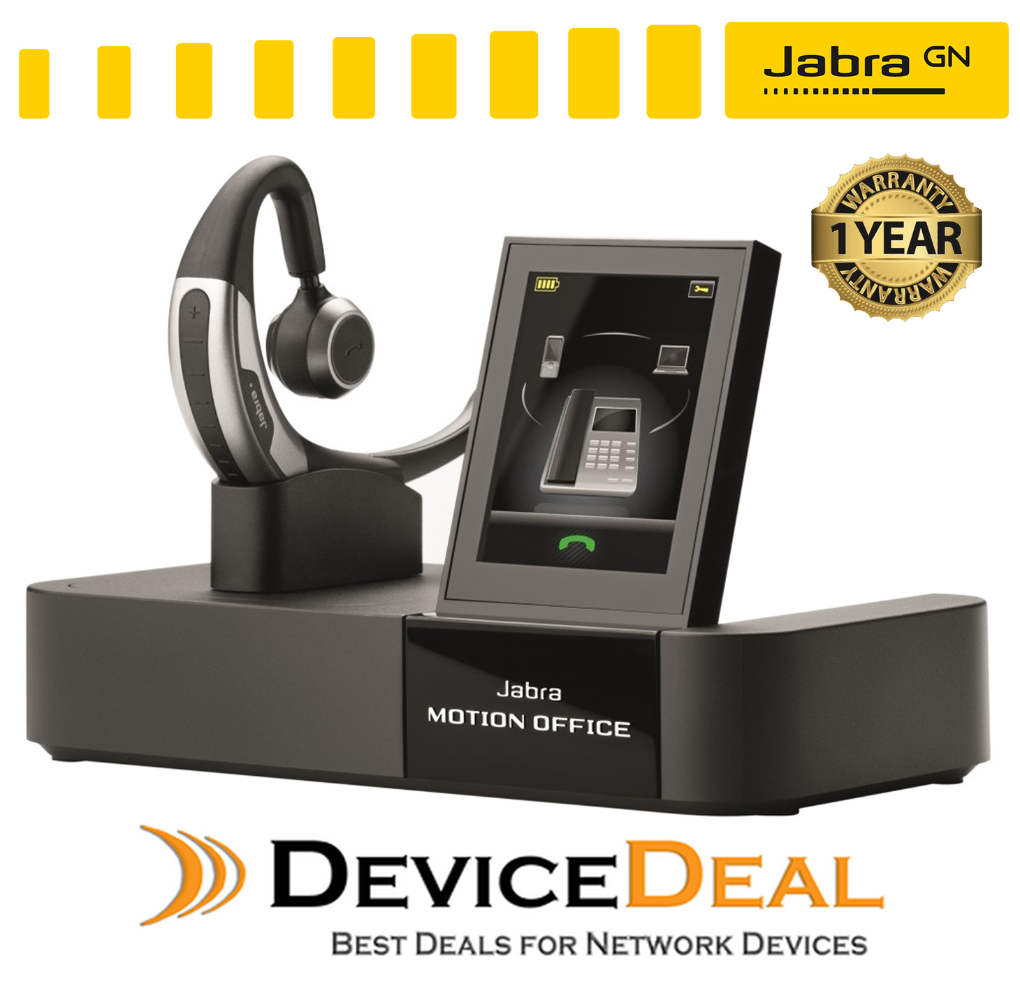 887605f3da3 Jabra MOTION OFFICE MS Bluetooth Headset with touch screen base ...