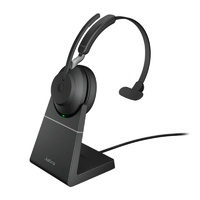 Jabra Evolve2 65 UC USB-A Mono Bluetooth Headset w/ Charging Deskstand - Black