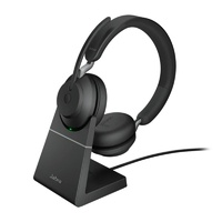 Jabra Evolve2 65 UC USB-C Stereo Bluetooth Headset w/ Charging Deskstand - Black
