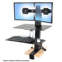 Ergotron 33-349-200 WorkFit-S, Dual Monitor with Work Surface+