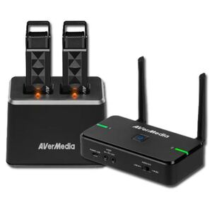 Avermedia Wireless Teacher Microphone AW315 Full Package - Dual Mic with Smart Pair. Microphone x 2, Receiver x 1, Charge Station x 1