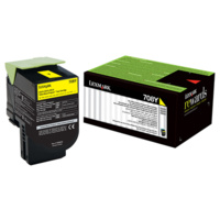 Lexmark 708Y YELLOW RETURN TONER CARTRIDGE, 1K, CS310/CS410/CS510