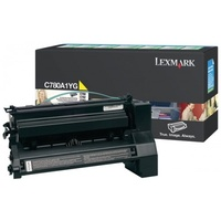 Lexmark C780A1YG YELLOW (PREBATE)TONER YIELD 6,000 PAGES FOR C780