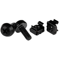 StarTech M6 x 12mm - Screws and Cage Nuts - 100 Pack, Black