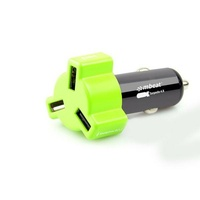 Mbeat 4.8A 24W Triple-port USB Rapid Car Charger - Green