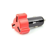 Mbeat 4.8A 24W Triple-port USB Rapid Car Charger - Red