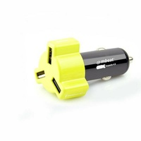 Mbeat 4.8A 24W Triple-port USB Rapid Car Charger - Yellow
