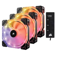 Corsair HD120 RGB LED High Performance 120mm PWM Fan -Three Pack with Controller CO-9050067-WW