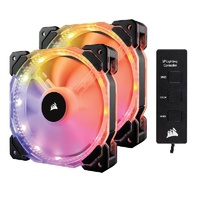 Corsair HD140 RGB LED High Performance 140mm PWM Fan - Dual Pack with Controller CO-9050069-WW