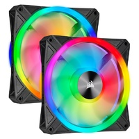 Corsair iCUE QL140 RGB 140mm PWM Fan - Dual Pack with Lighting Node CORE