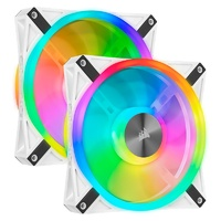Corsair iCUE QL140 RGB White 140mm PWM Fan - Dual Pack with Lighting Node CORE