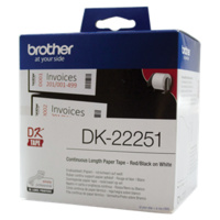Brother LBF797024 WHITE CONTINUOUS PAPER ROLL 62MM X 15.24M (WITH BLACK/RED PRINT)