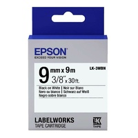 Epson Label Tape 9mm Black on White - 9 metres