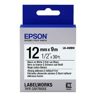 Epson Label Tape 12mm Black on White - 9 metres