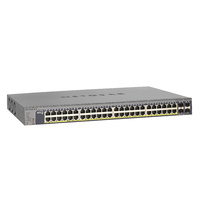 NETGEAR® 48-Port 380W Gigabit PoE+ Ethernet Smart Managed Pro Switch with 4 SFP Ports GS752TP-200AJS