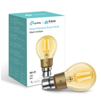 TP-Link KL60B Kasa Filament Smart Bulb, Warm Amber,  Bayonet, Dimmable, No Hub Required, Voice Control, 2000K, 5kWh/1000h, 2.4 GHz, 2 Year Warranty
