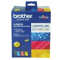 Brother LC-67HYCL 3PK COLOUR VALUE PACK 1xC 1xM 1xY FOR MFC-5890CN/6490CW