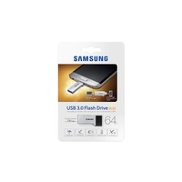Samsung USB Drive 64GB, Duo Type, USB3.0 and Micro USB2.0, Silver & Black, 130MB/s Read*, 5.2g, 5 Years Warranty