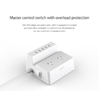 ORICO ODC-2A5U (2 AC Outlets with 5 Smart Charging USB 40W Ports Surge Protector)