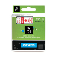 Dymo Red on Wht 12mmx7m Tape 12mm x 7m