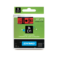 Dymo Blk on Red 12mmx7m Tape 12mm x 7m