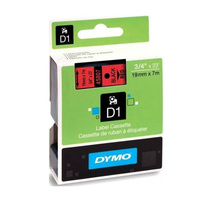 Dymo Blk on Red 19mmx7m Tape 19mm x 7m