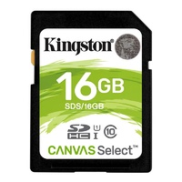 Kingston 16GB Canvas Select SDHC UHS-I Class 10 Memory Card - 80MB/s