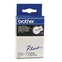 Brother TC291 P-Touch Laminated Tape Black on White 9mm