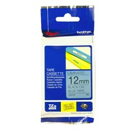 Brother Laminated Tape 12mm x 8m Black on Blue TZe-531