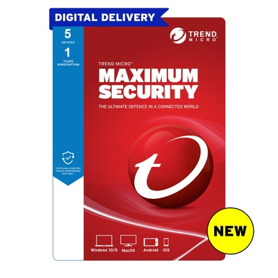 Trend Micro Maximum Security 2021 - 1 Year 5 Devices for PC, Mac, Android or iOS devices