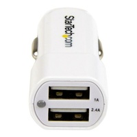 StarTech Dual Port USB Car Charger - 17W/3.4A - White