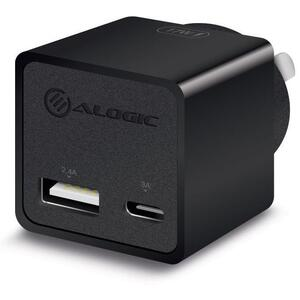 Alogic 2 Port USB-C & USB-A Mini Wall Charger - 3A + 2.4A - 17W Black