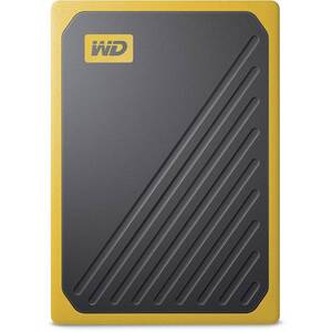 WD MY PASSPORT GO PORTABLE SSD 2TB USB 3.0 SPEEDS UP TO 400 MB/S BUILT-IN CABLE AMBER COLORED