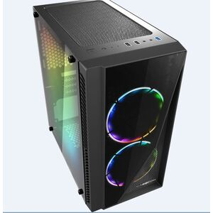 Casecom Gamming XM-91 Front & Side Transparent Temper glass  Micro ATX with no PSU-has 2x 12CM 18 LED fans  6 colours Single ring ,  0.5SPCC